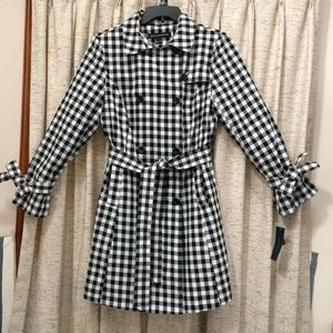 French Connection Gingham Print Trench Coat